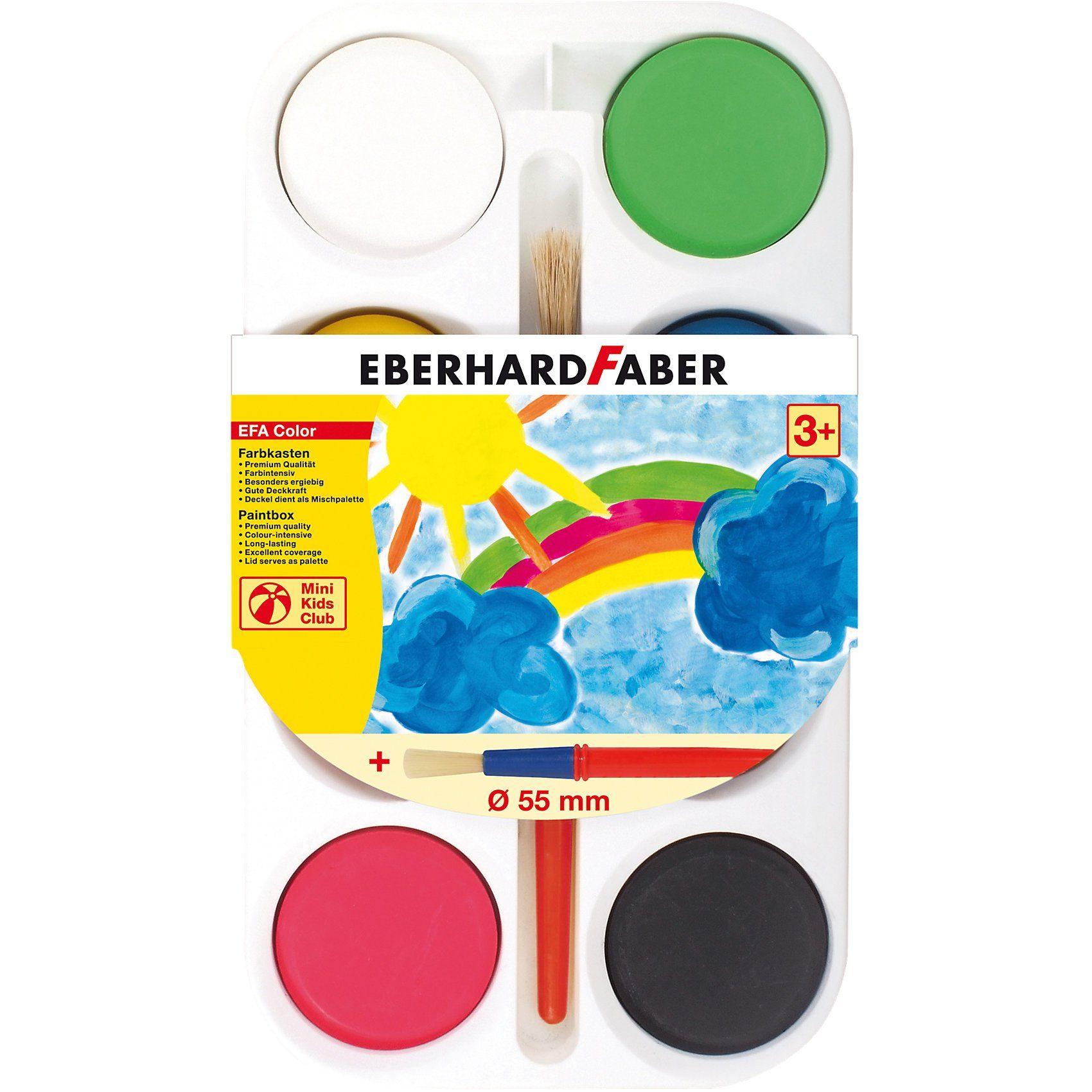 Eberhard Faber Mini Kids Farbkasten, 8 Farben & Pinsel