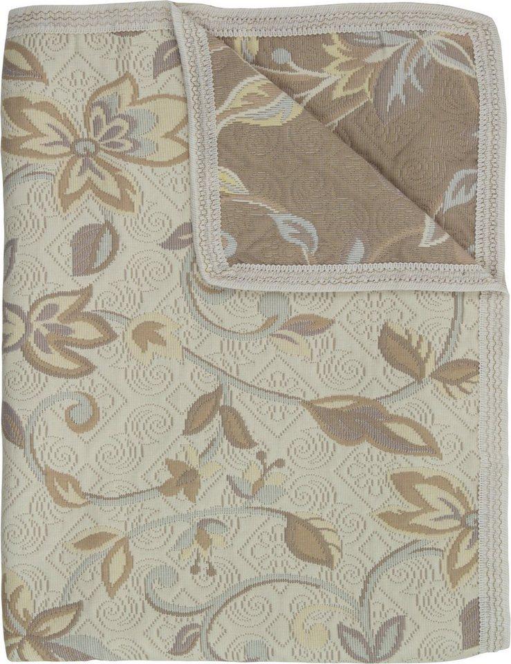 Tagesdecke, Hagemann, »Orcadia«, florales Muster in beige