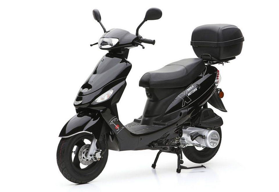 Nova Motors SET: Motorroller inkl. Topcase, Faltgarage, Kettenschloss, 125-ccm, 82 km/h, »City Star« in schwarz