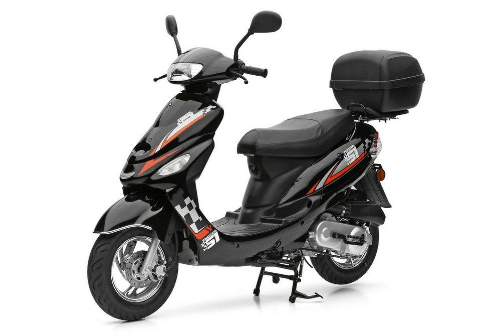Nova Motors SET: Mofaroller inkl. Topcase, 49-ccm, 25 km/h, »City Star« in schwarz-orange
