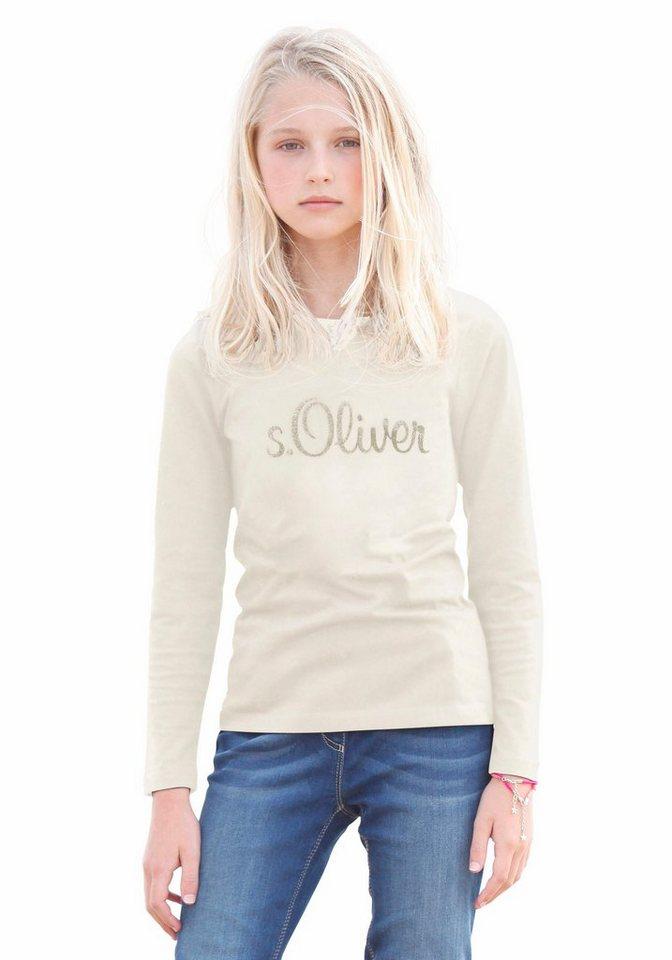 s.Oliver RED LABEL Junior Langarmshirt Glitzerdruck, für Mädchen in Natur