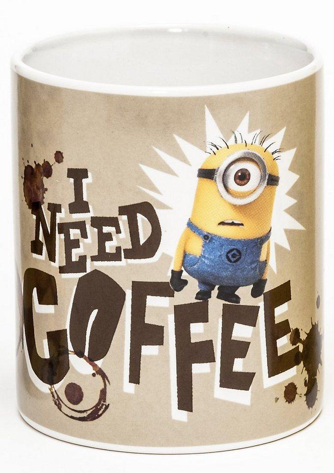 JOY TOY Tasse 320 ml, »Minions Keramiktasse, I need Coffee«