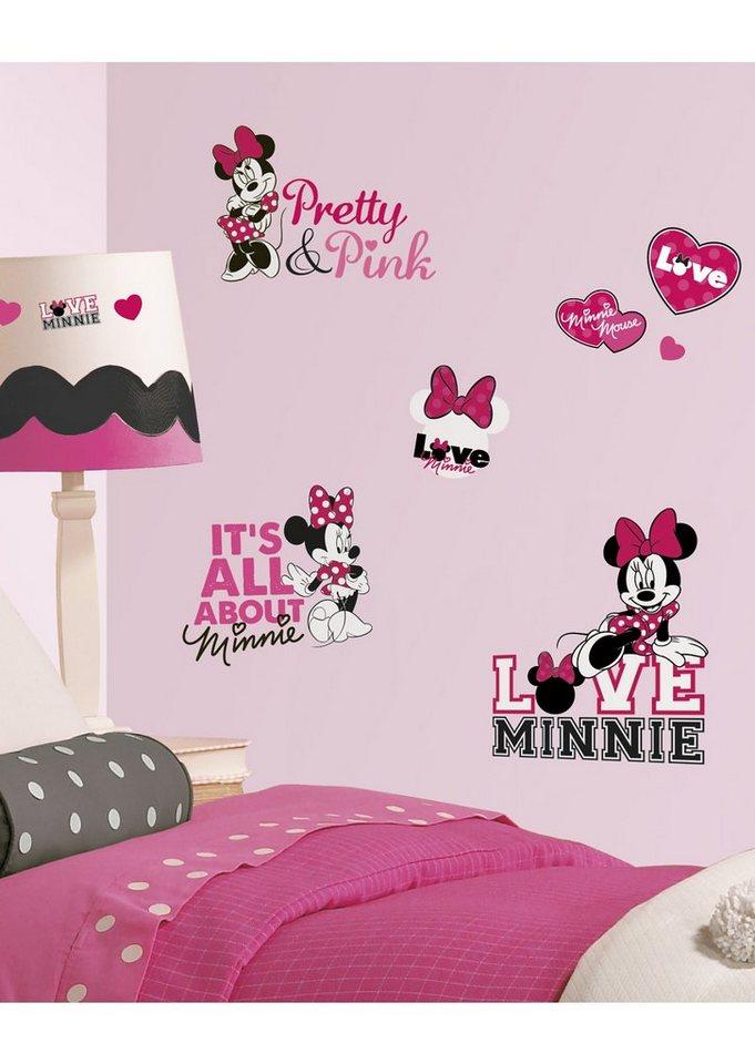 JOY TOY Wandsticker, »Minnie loves pink Wandtattoos« in pink