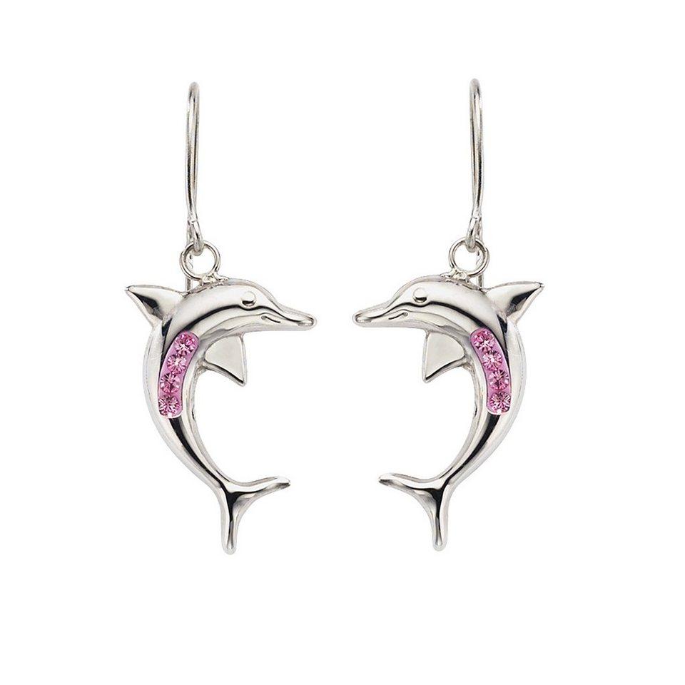 Crystelle Ohrhänger »925/- Sterling Silber Swarovski Kristall« in pink