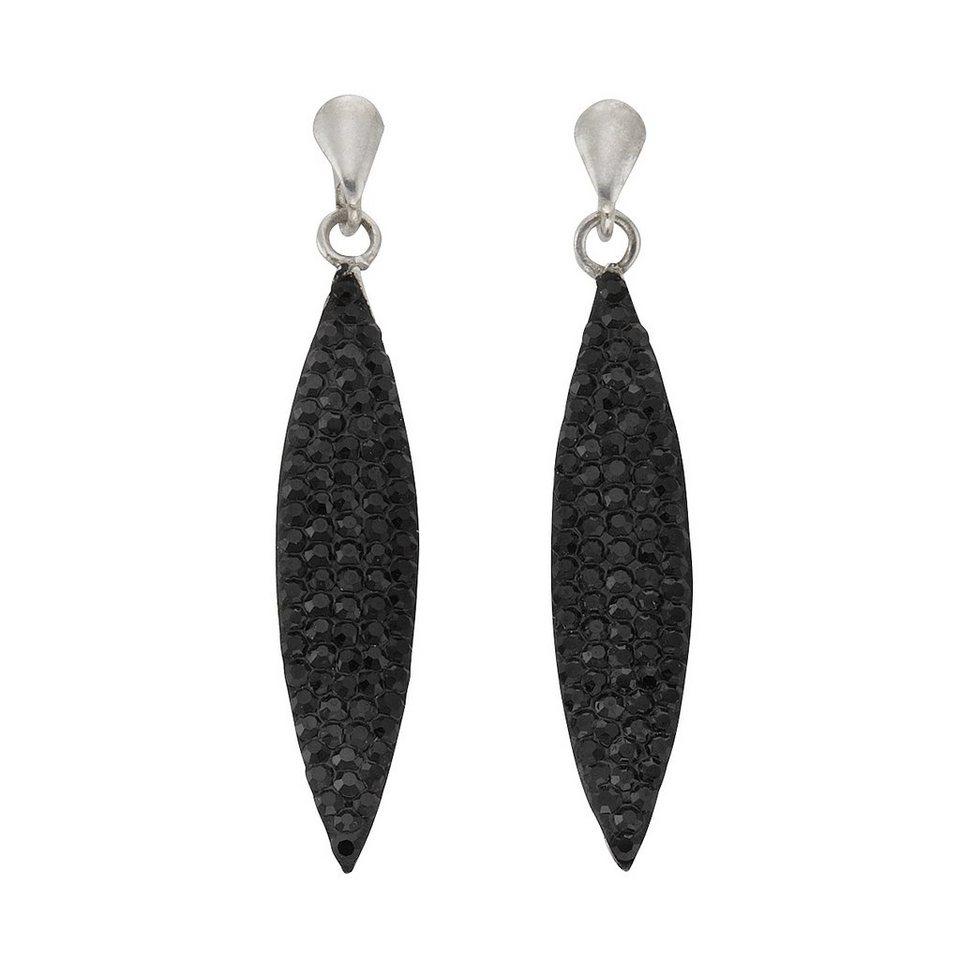 Crystelle Ohrhänger »925/- Sterling Silber Swarovski Kristall« in schwarz