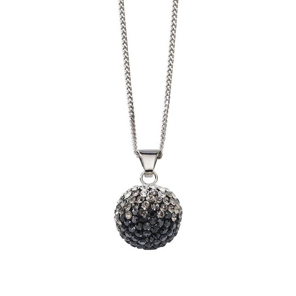 Crystelle Anhänger mit Kette »925/- Sterling Silber Swarovski Kristalle« in schwarz