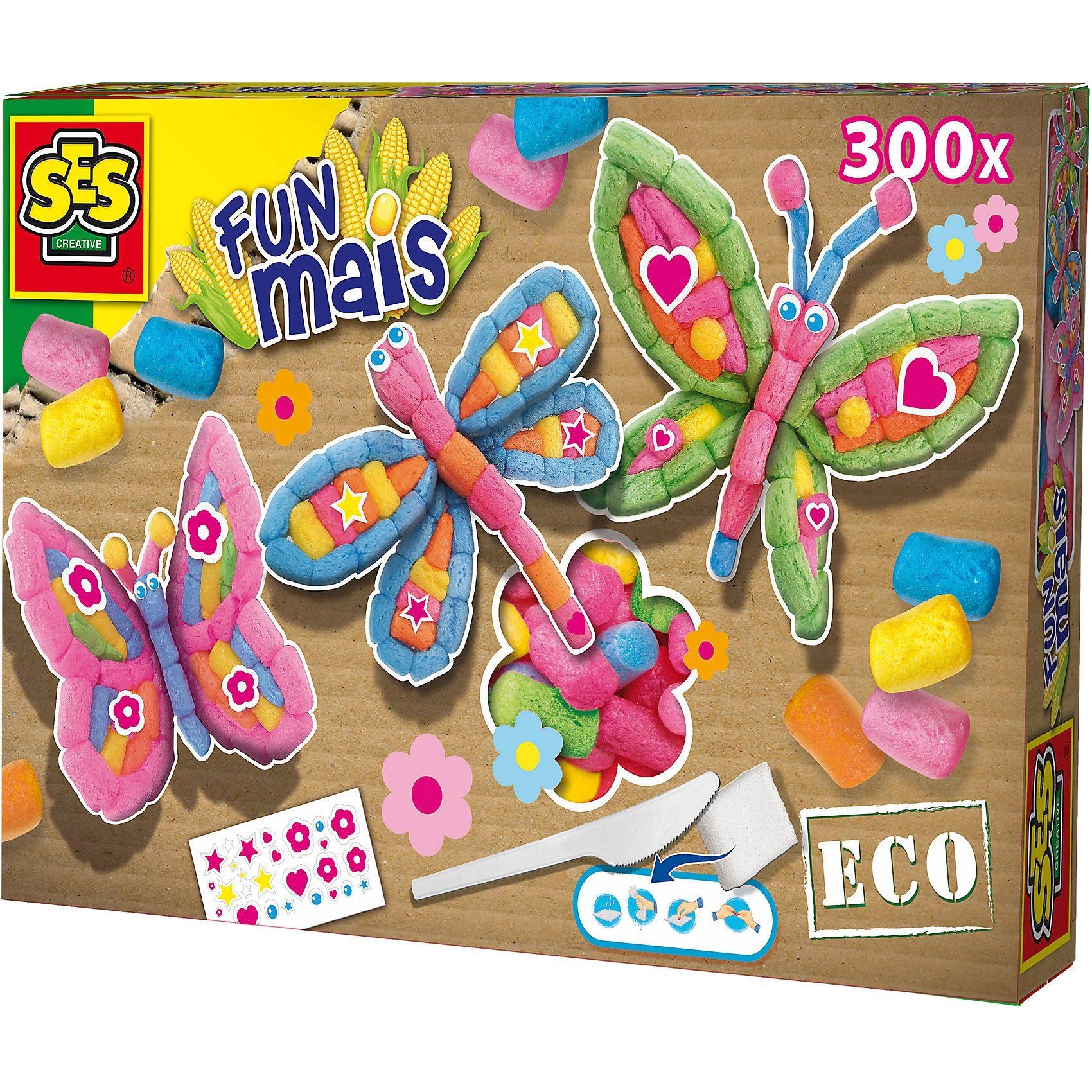 SES Creative 24984 FUNmais Schmetterlinge, 300 Maisbausteine