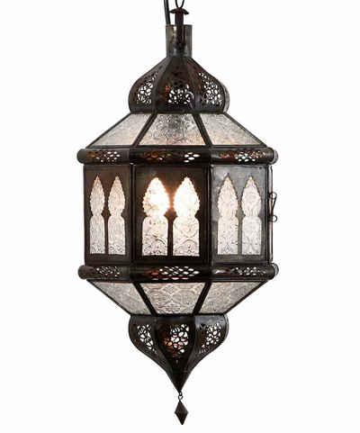 Casa Moro Hängeleuchte »Marokkanische Lampe Trombia Biban Weiß H 50 cm aus Metall & Reliefglas, Kunsthandwerk aus Marrakesch wie aus 1001 Nacht, L1234«, Handmade