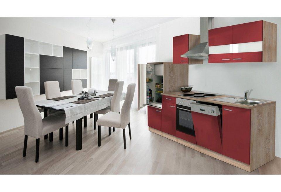 Küchenzeile mit E-Geräten »Anna«, Breite 280 cm, mit Edelstahl-Kochmulde in rot/eichefarben