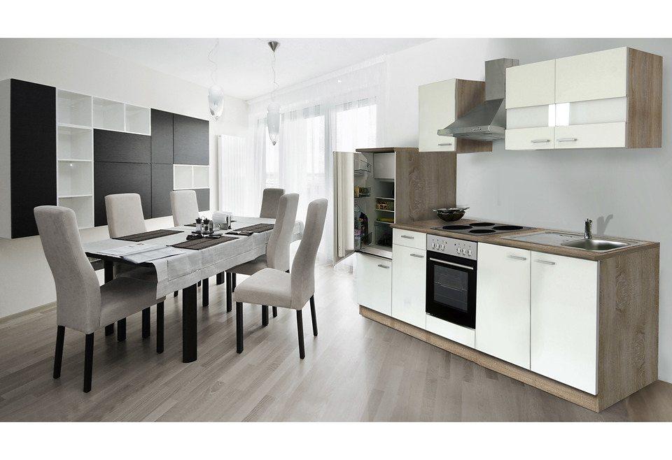 Küchenleerblock »Economy«, Breite 280 cm, für Einbaugeschirrspüler in eichefarben, weiß