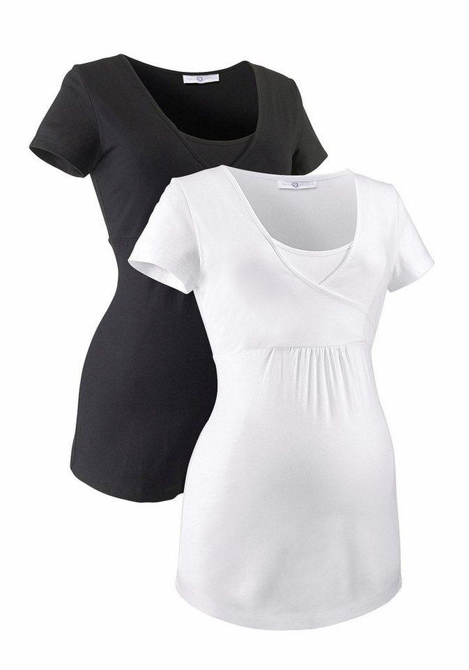 Neun Monate Umstandsshirt mit Stillfunktion (Packung, 2 tlg.) in schwarz-weiß
