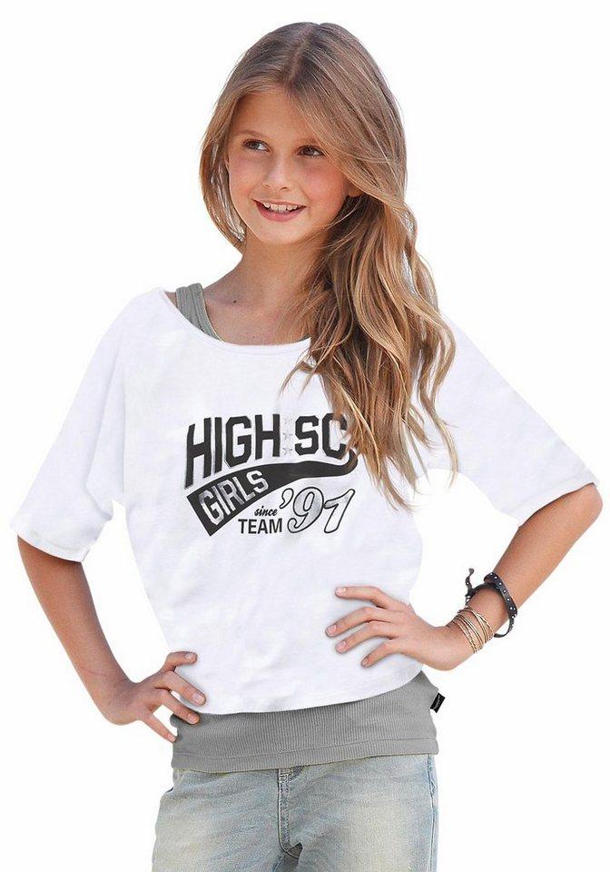 Buffalo Shirt & Top mit Frontdruck auf Shirt (Set, 2-tlg.), für Mädchen in weiß-meliert
