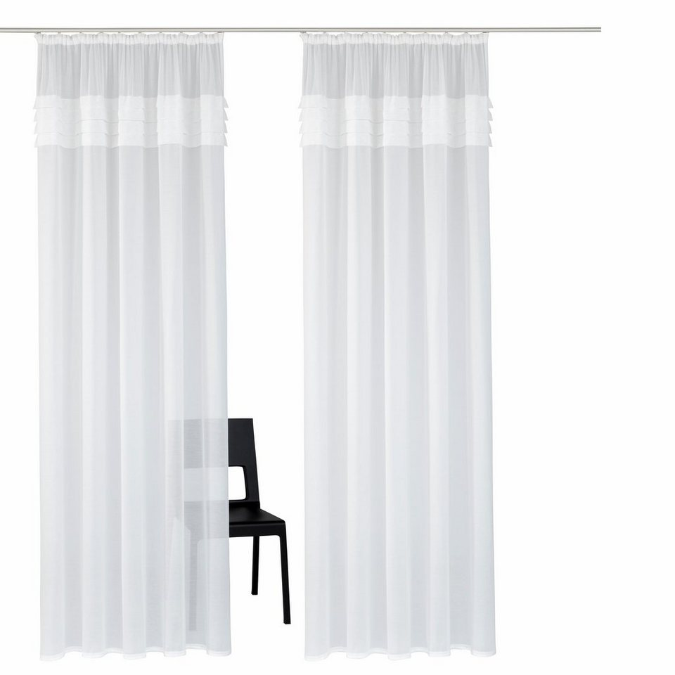 gardine home affaire collection gander mit kr uselband 2 st ck online kaufen otto. Black Bedroom Furniture Sets. Home Design Ideas
