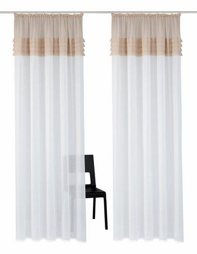 Gardine »Gander«, Home affaire, Kräuselband (2 Stück), Vorhang, Fertiggardine, halbtransparent