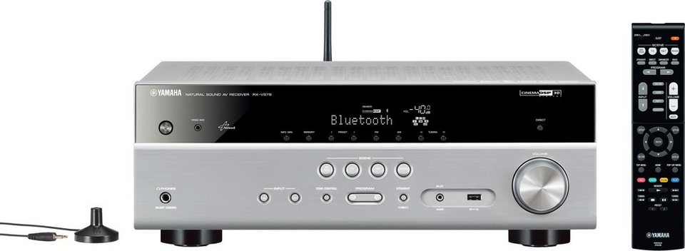 Yamaha RX-V579 7.2 AV-Receiver (Hi-Res, 3D, Spotify Connect, Airplay, WLAN, Bluetooth) in silberfarben