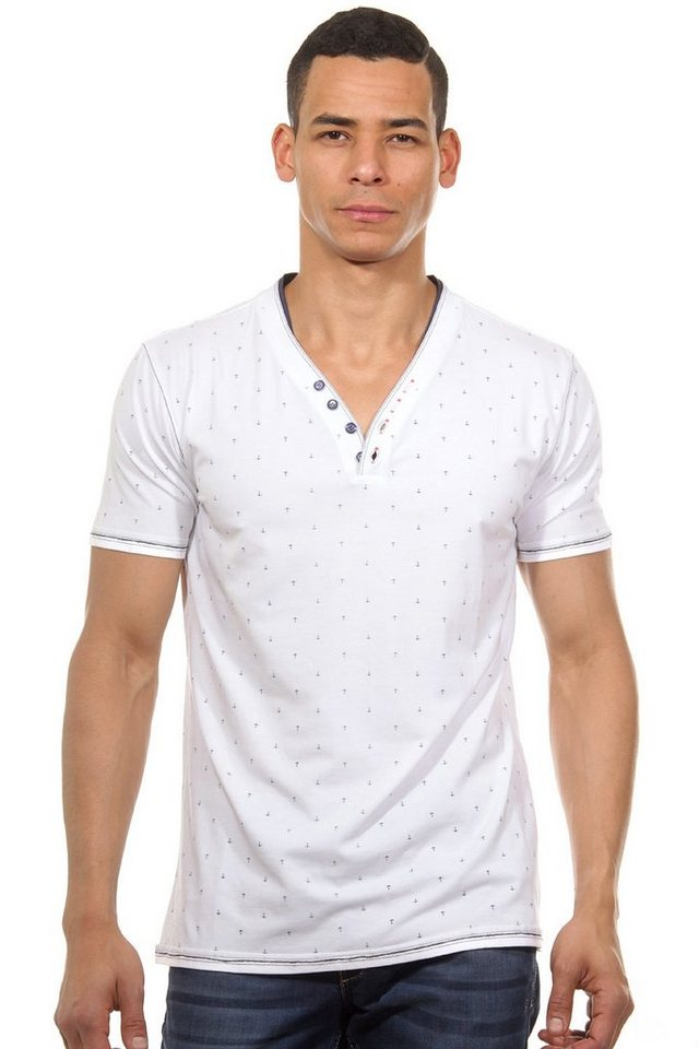 MCL Henley T-Shirt slim fit in weiss