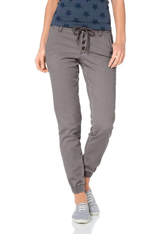 AJC Pumphose Hose mit Gummizug und Knopfleiste in grau