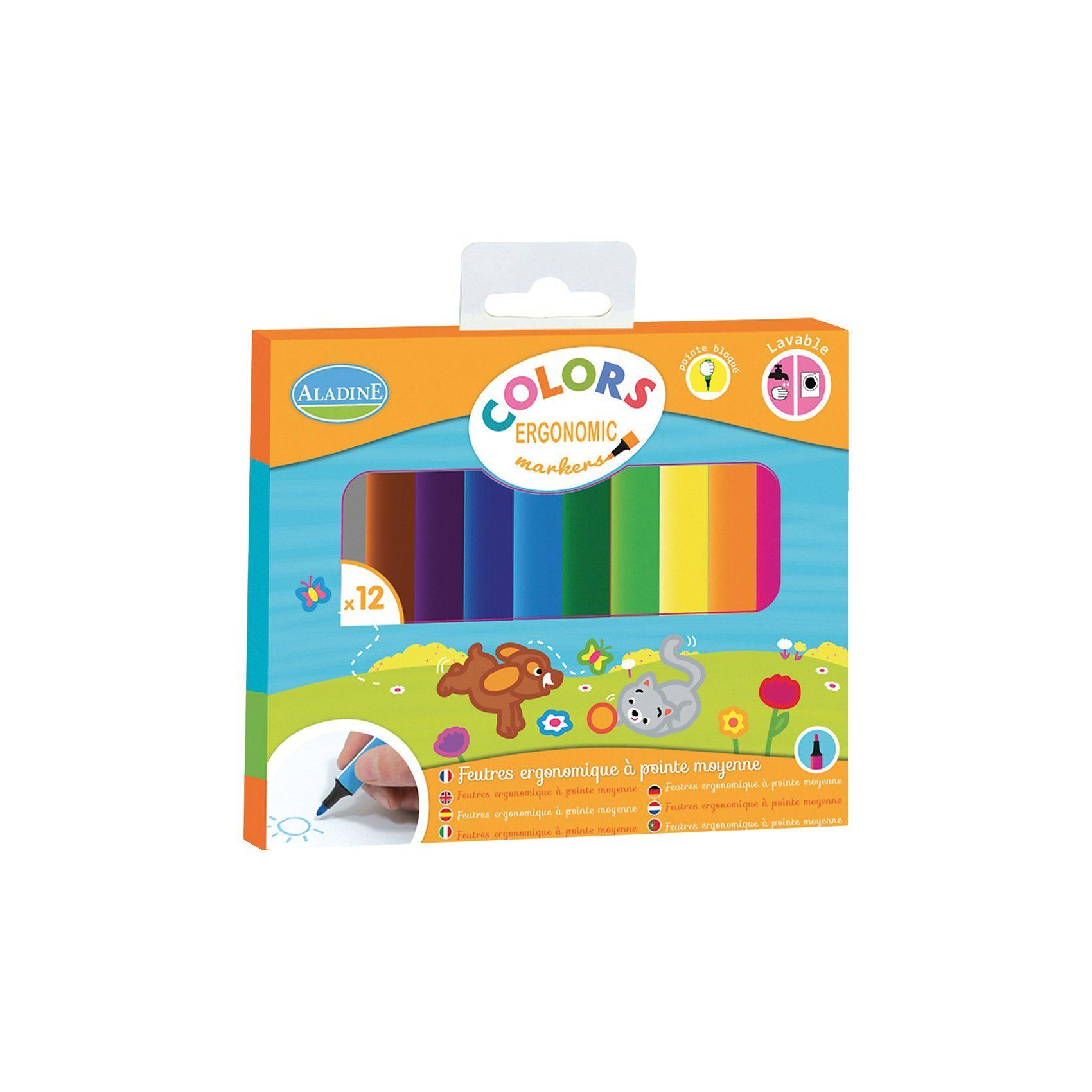 Aladine Ergonomische Fasermaler, 12 Farben