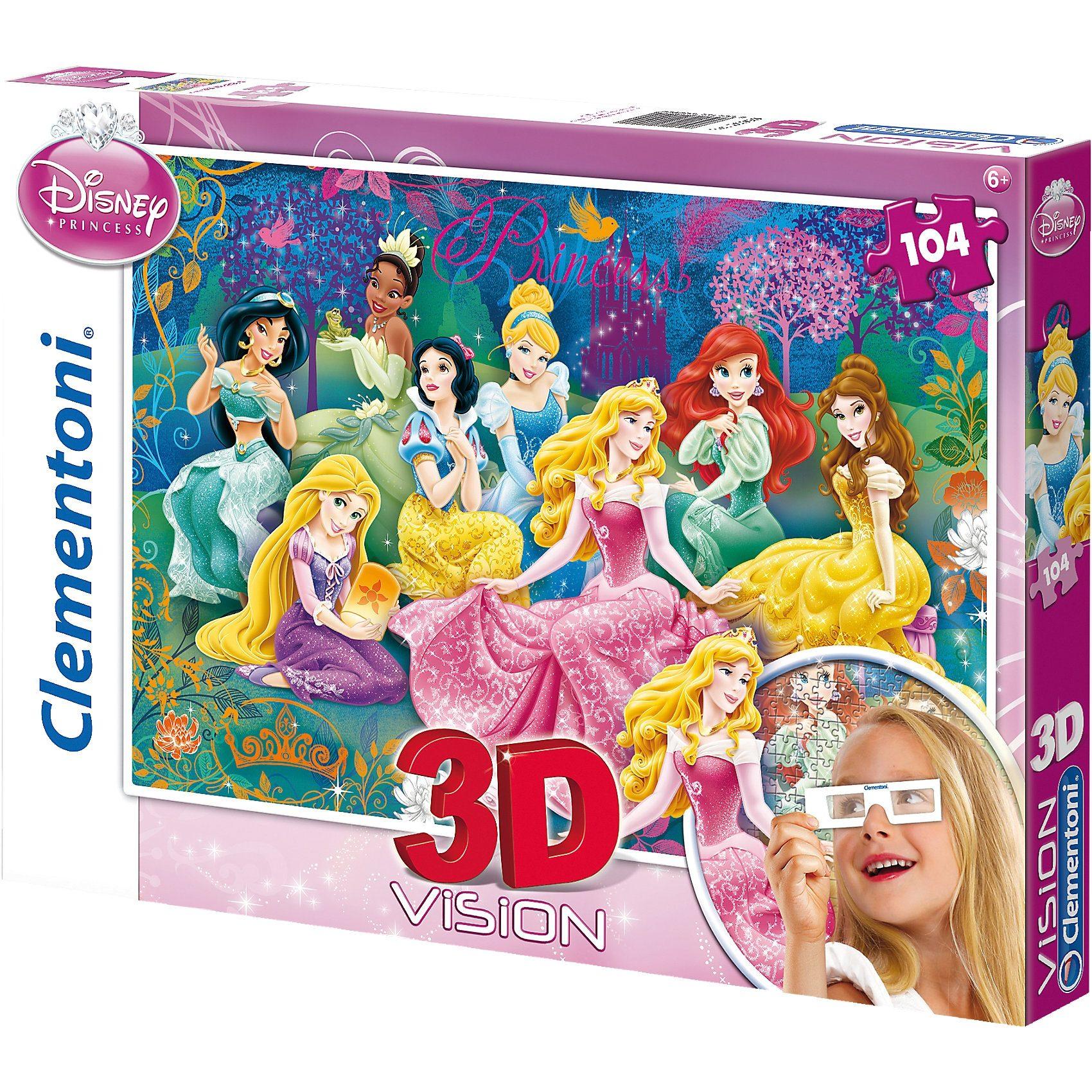 Clementoni Puzzle 3D Vision 104 Teile - Disney Princess