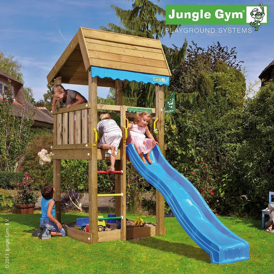 jungle gym spielturm home inkl rutsche blau otto. Black Bedroom Furniture Sets. Home Design Ideas