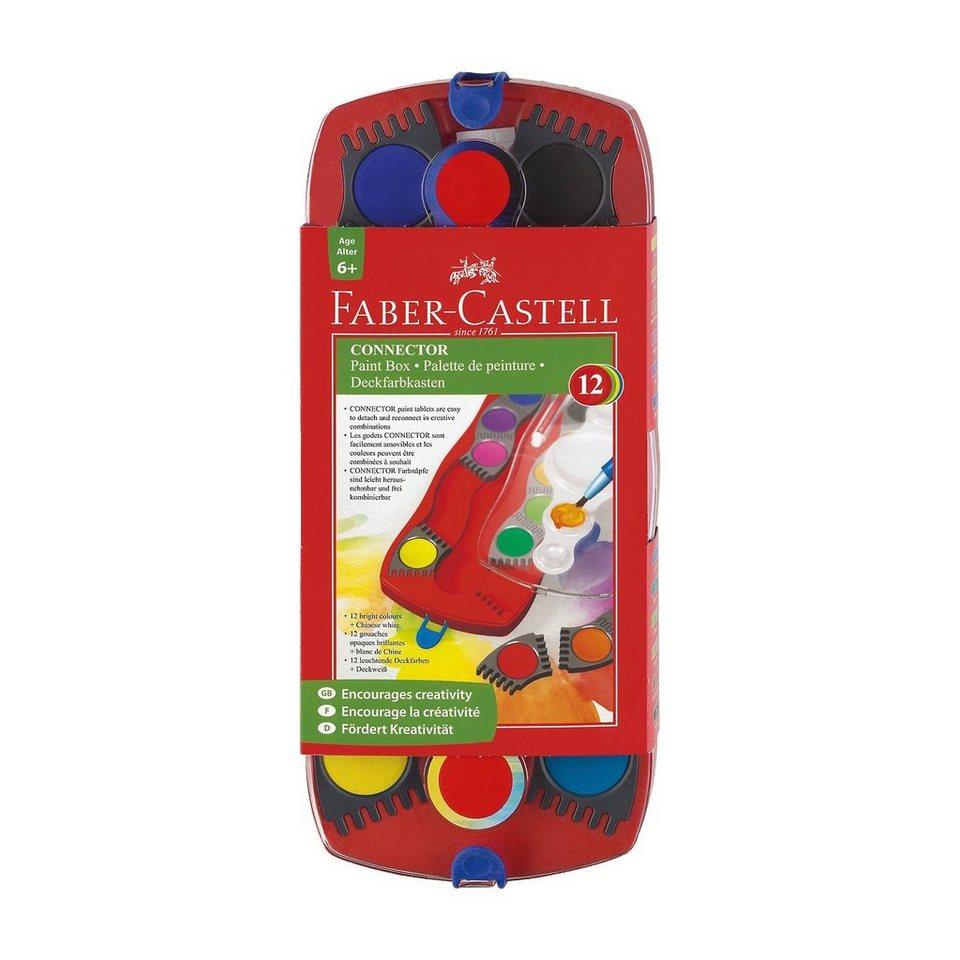 Faber-Castell CONNECTOR Deckfarbkasten, 12 Farben & Pinsel