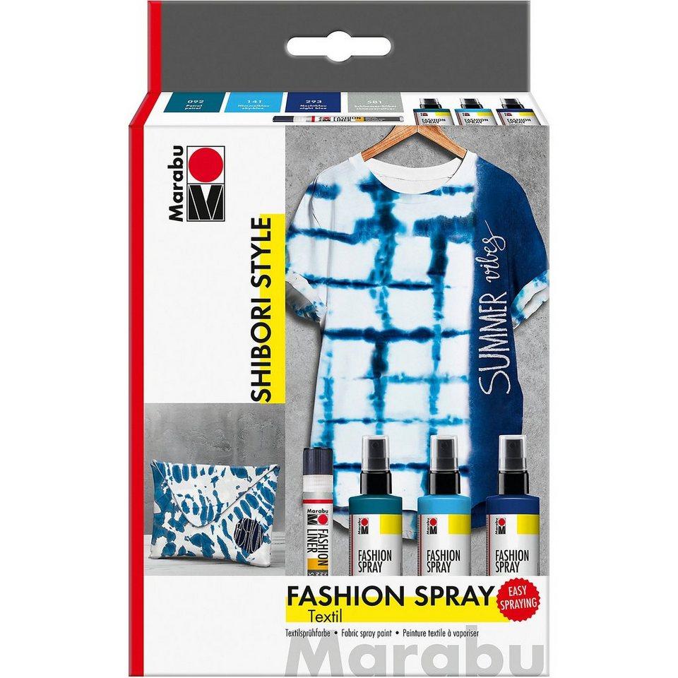 Marabu Textilgestaltungsset HOT SUMMER, 4 x 15 ml inkl. Pinsel & Fa