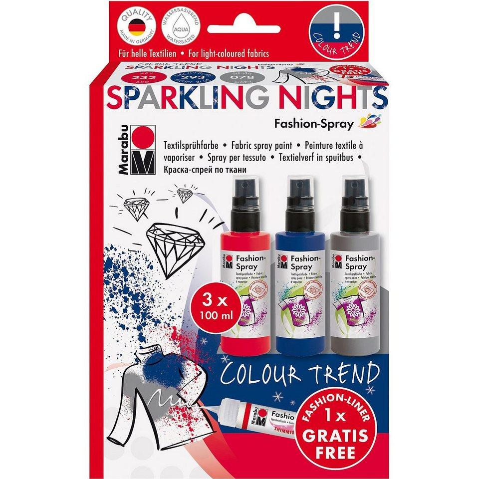 Marabu Fashion-Spray Textilgestaltungsset Colour Trend Sparkling Ni