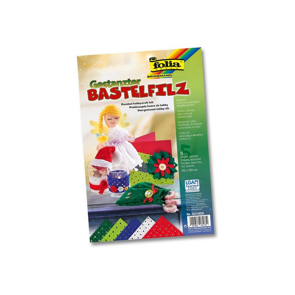 Folia Bastelfilz gestanzt Weihnachten, 10 Bogen