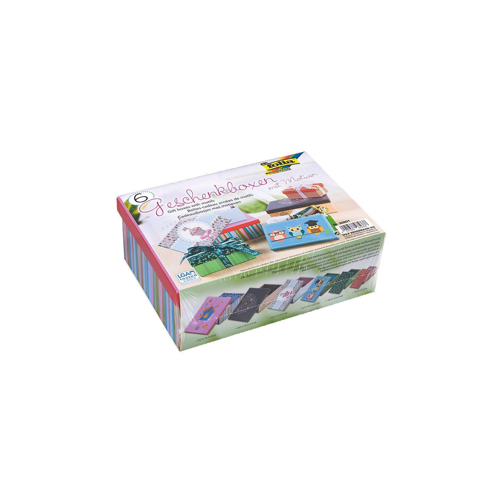 Folia Geschenkboxen-Set Ganzjahresmotive, 6 Stück