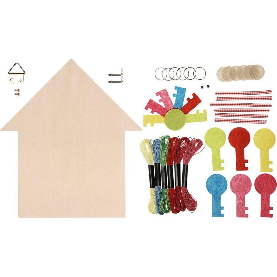 SUNNYSUE Schlüsselbrett zum Gestalten, 3 Stück inkl. 6 Schlüsselmännc