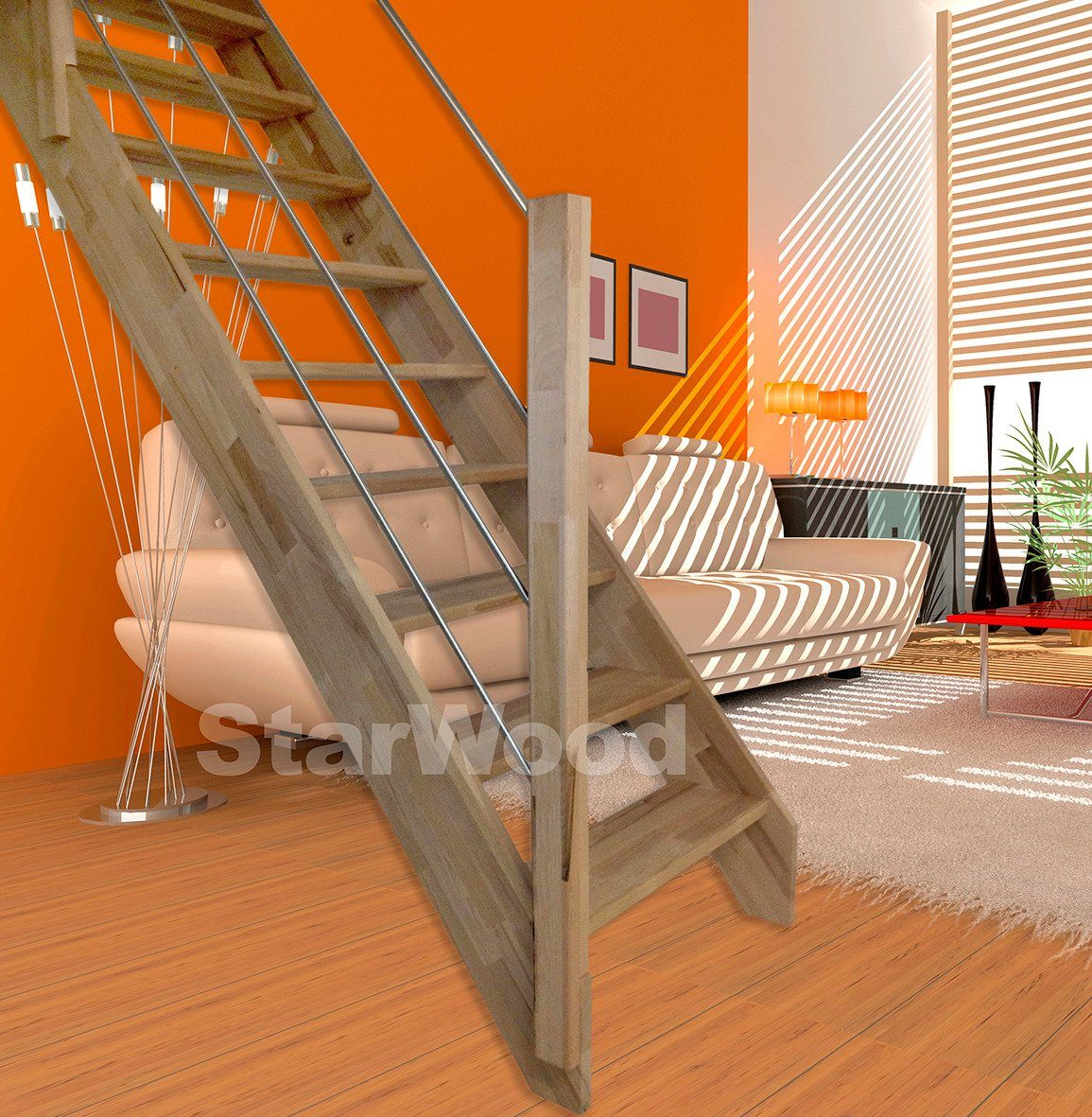 STARWOOD Raumspartreppe »Rhodos«, offene Stufen, gerade, Holz-Edelstahlgeländer links