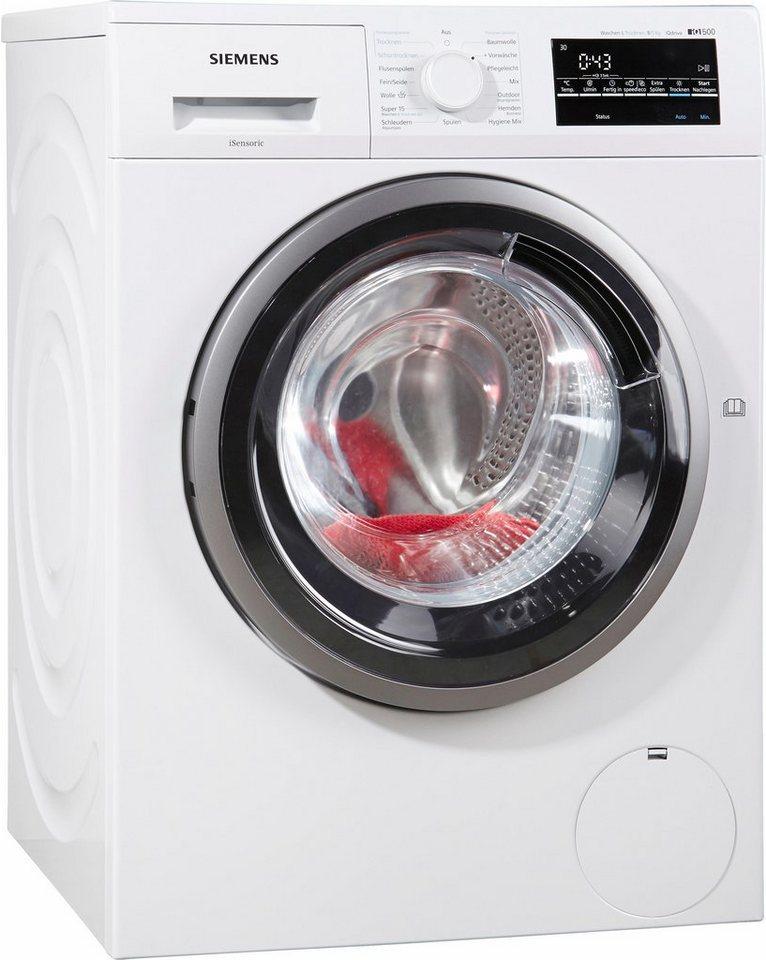 SIEMENS Waschtrockner WD15G4V1, A, 8 kg / 5 kg, 1500 U/Min in weiß