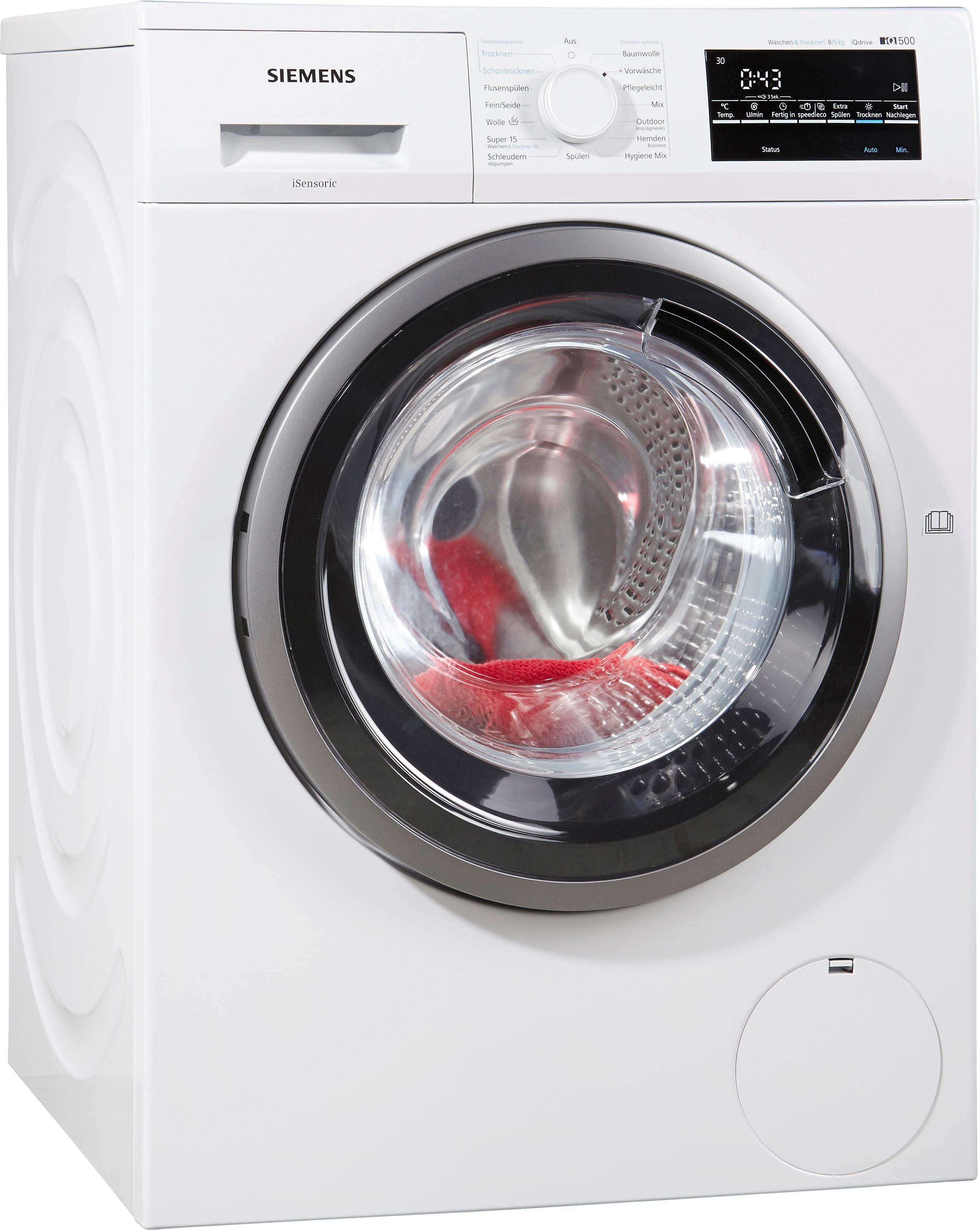 SIEMENS Waschtrockner iQ500 WD15G4V1, A, 8 kg / 5 kg, 1500 U/Min