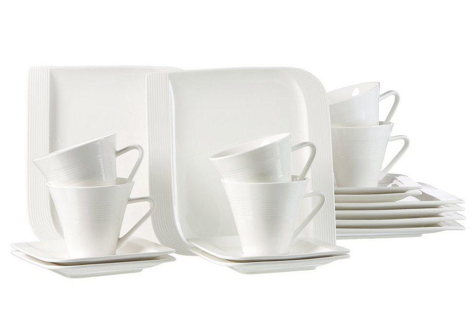 Ritzenhoff & Breker Kaffeeservice, Porzellan, 18 Teile für 6 Personen, »Levanto« in weiß