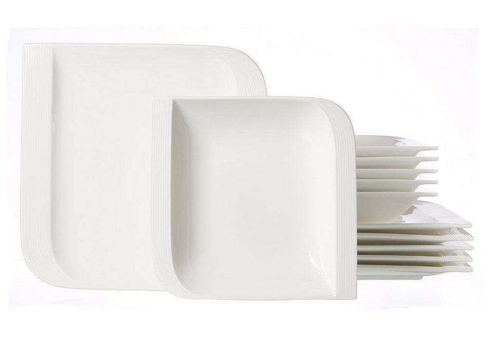 Ritzenhoff & Breker Tafelservice, Porzellan, 12 Teile für 6 Personen, »Levanto« in weiß