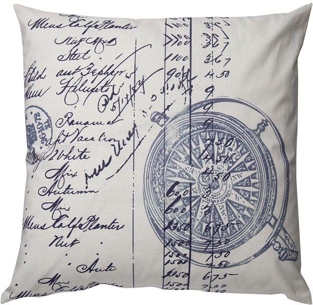 Kissen, Homing, »Compass«, gefüllt (1er Pack) in blau-weiß