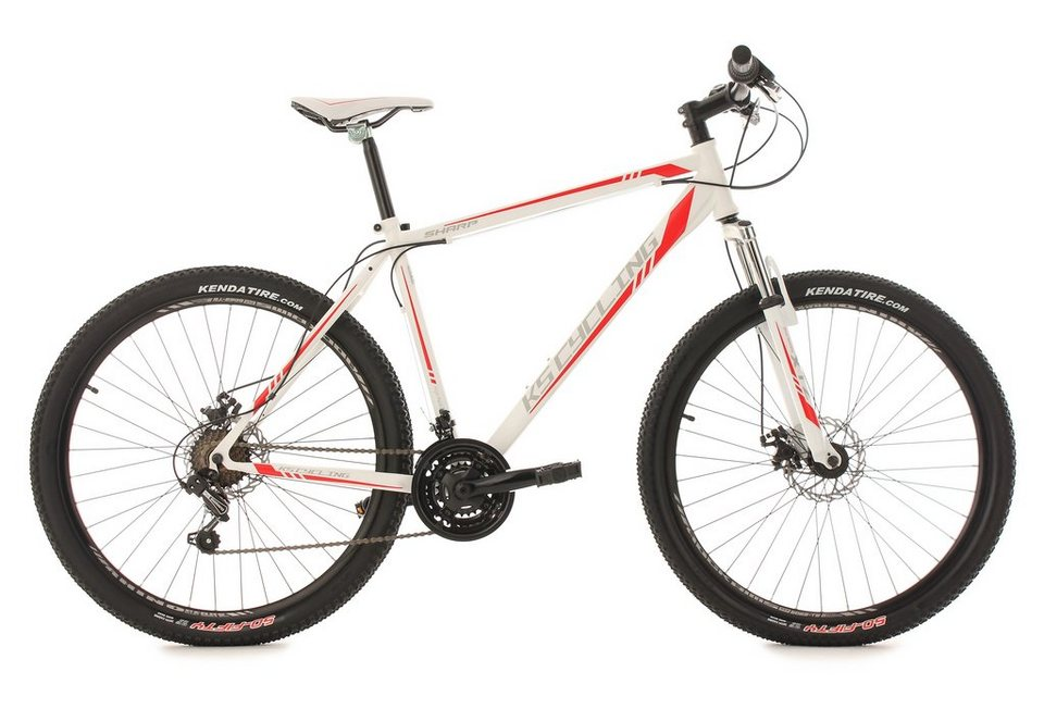 KS Cycling Hardtail-Mountainbike, 27,5 Zoll, weiß-rot, 21-Gang-Kettenschaltung, »Sharp« in weiß-rot