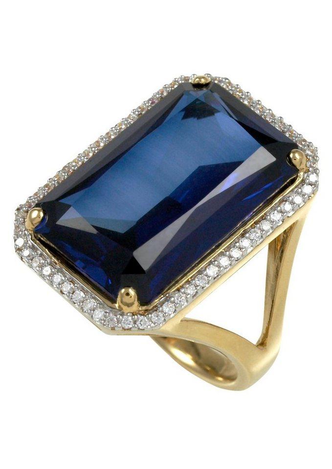 Merii Ring, »M0830R/90/G7/50-60« in Silber 925/teilw. goldfb. vergoldet