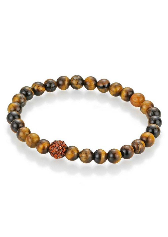 firetti Armschmuck: Armband mit Tigeraugen-Perlen und Kristallsteinen in braun