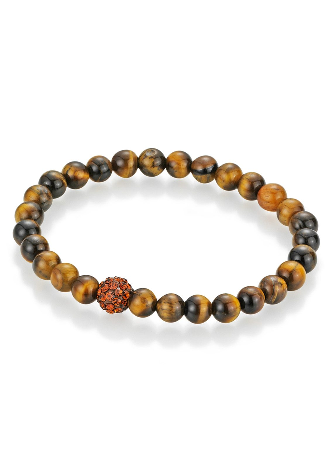 firetti Armschmuck: Armband mit Tigeraugen-Perlen und Kristallsteinen