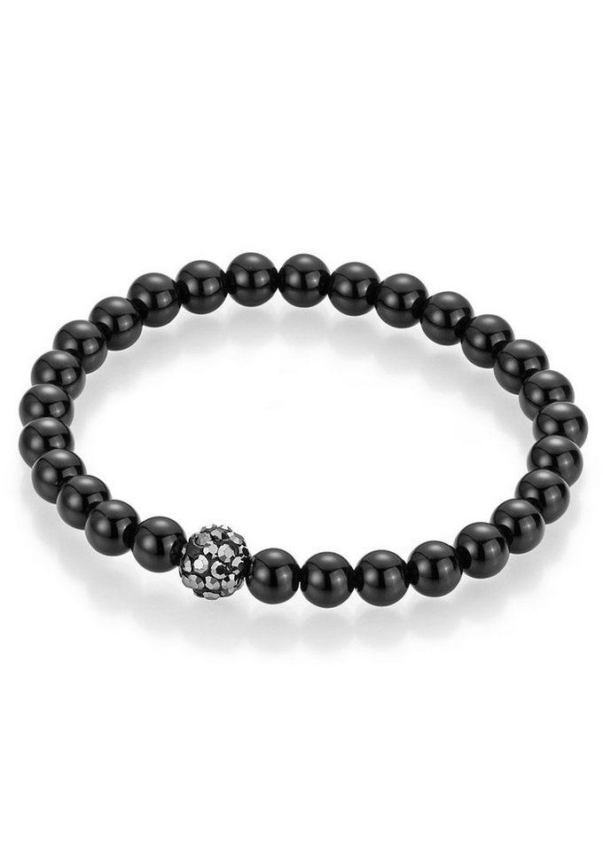 firetti Armschmuck: Armband mit Achat-Perlen und Kristallsteinen in schwarz