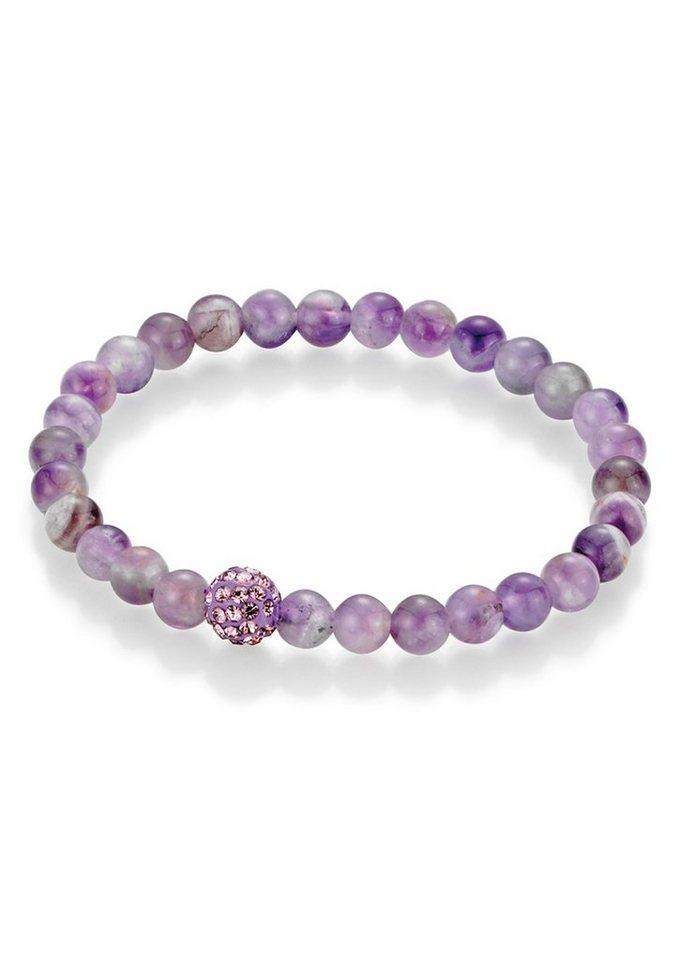 firetti Armschmuck: Armband mit Amethyst-Perlen und Kristallsteinen in lila