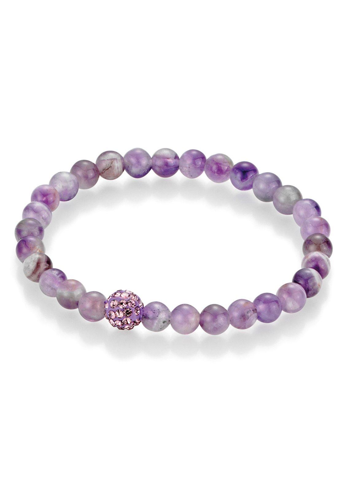firetti Armschmuck: Armband mit Amethyst-Perlen und Kristallsteinen