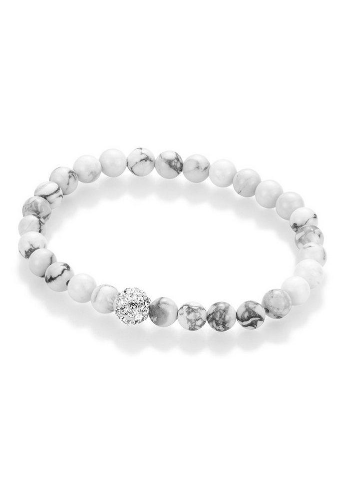 firetti Armschmuck: Armband aus Howlith-Perlen mit Kristallsteinen in Weiß/Grau