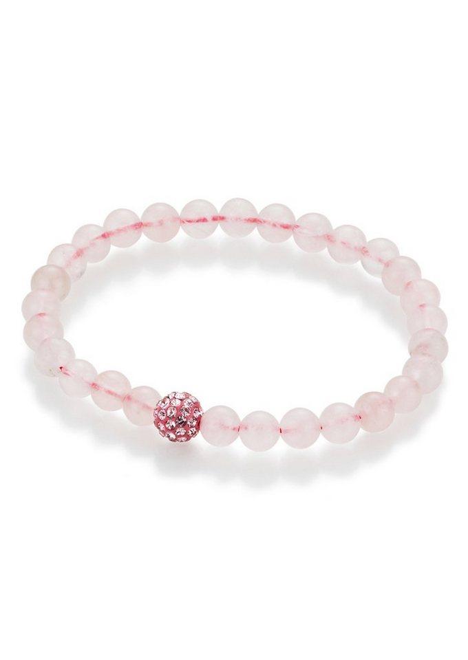 firetti Armschmuck: Armband aus Rosenquarz-Perlen mit Kristallsteinen in Rosa