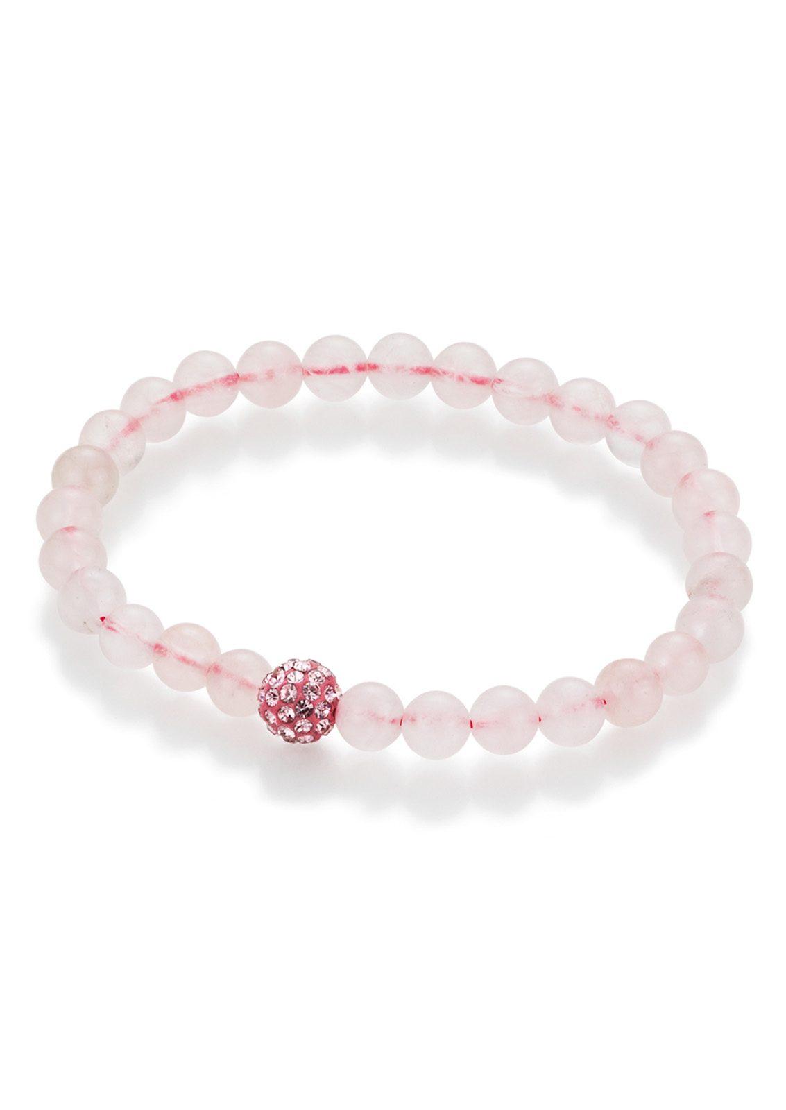 firetti Armschmuck: Armband aus Rosenquarz-Perlen mit Kristallsteinen