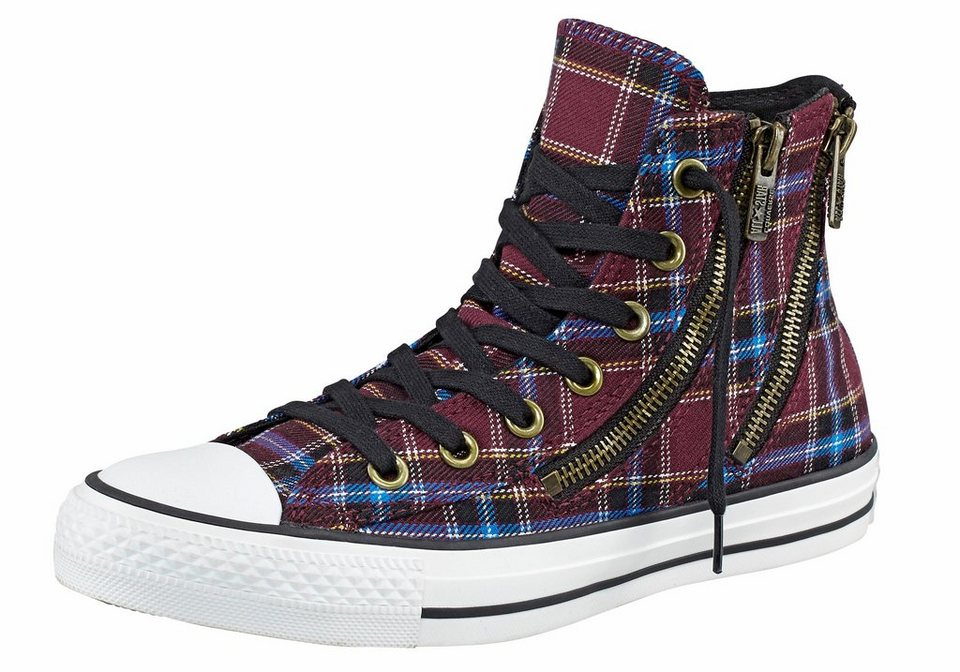 Converse CT All Star Dual Zip Plaid Sneaker in Bordeaux-rot-Blau
