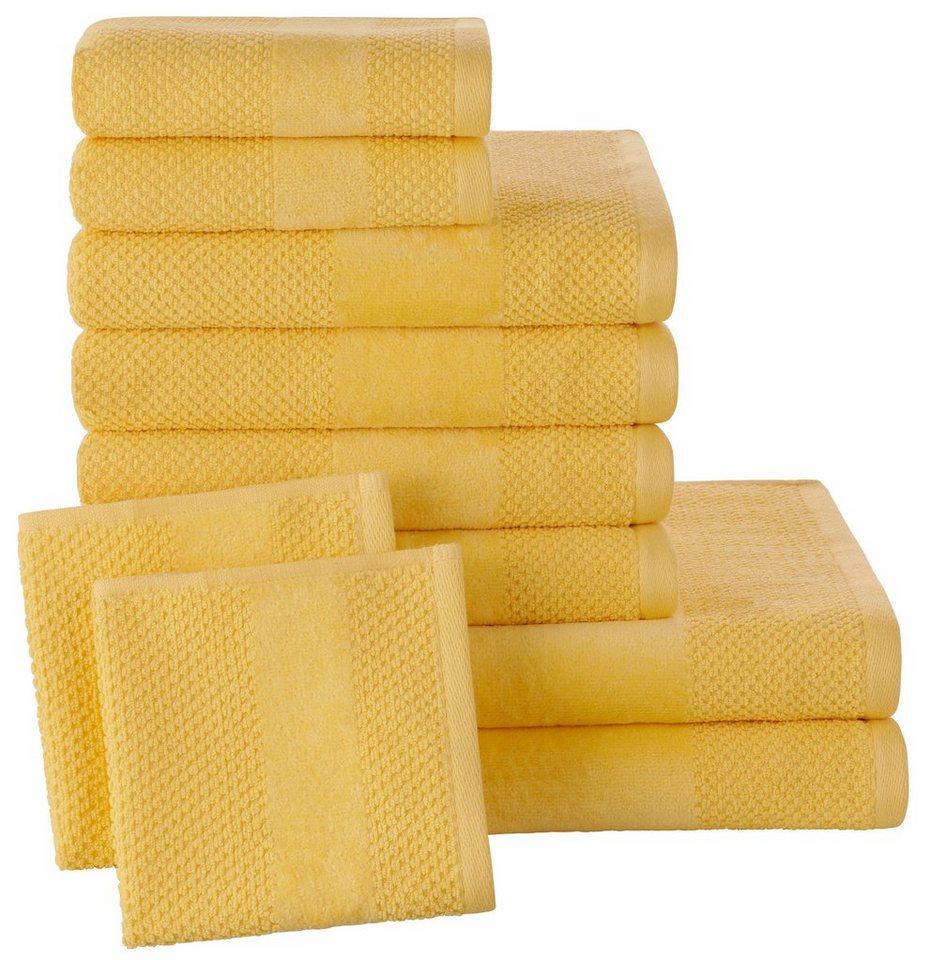 Handtuch Set, Ecorepublic Home, »Leo«, mit feiner Struktur in gelb