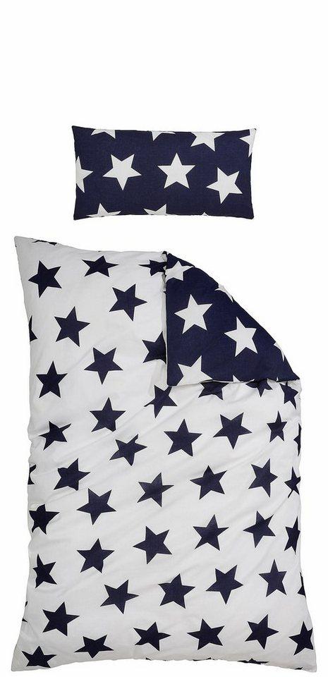 Bettwäsche, Ecorepublic Home, »Star«, mit Sternen in blau-weiss