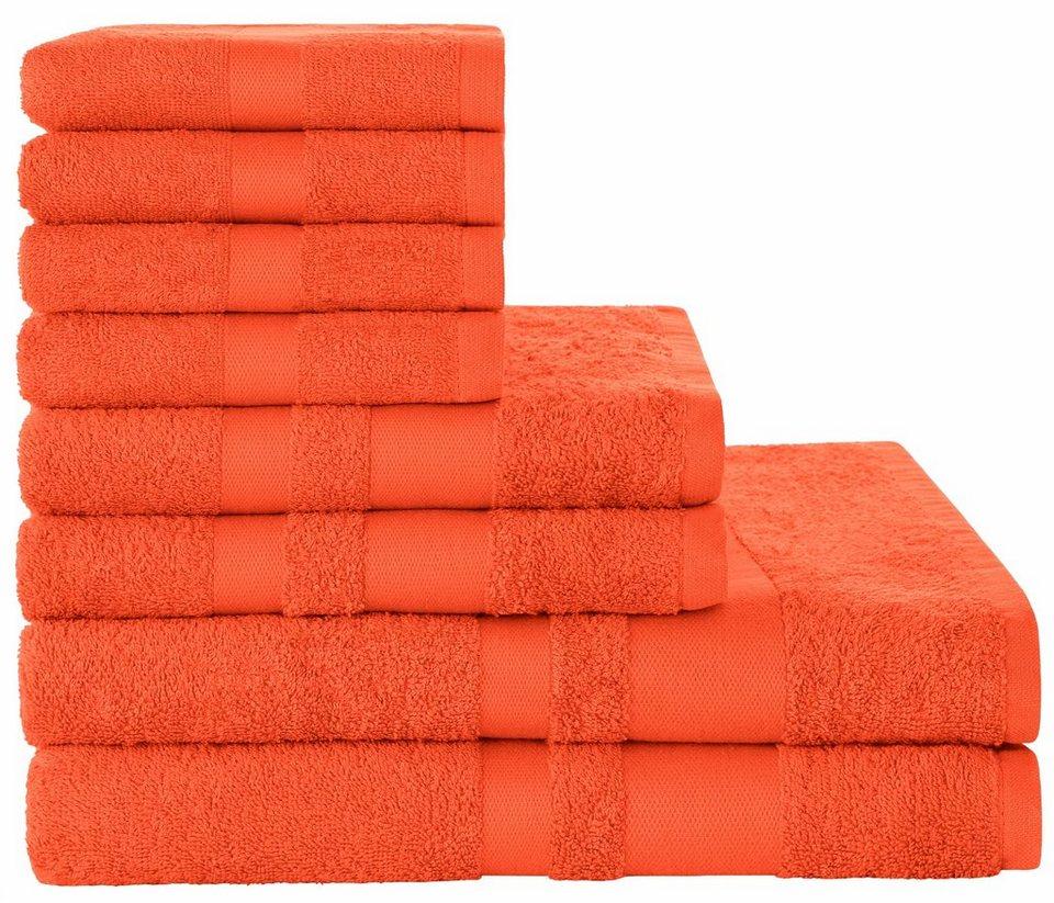 Handtuch Set, my home, »Amy«, mit dezenter Bordüre in orange